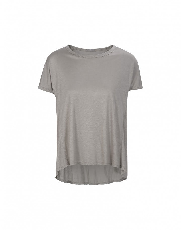 GUSH: T-shirt in jersey di viscosa, grigio talpa