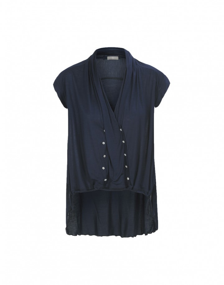 """FOLD: Top in jersey blu con """"finto"""" doppio petto"""