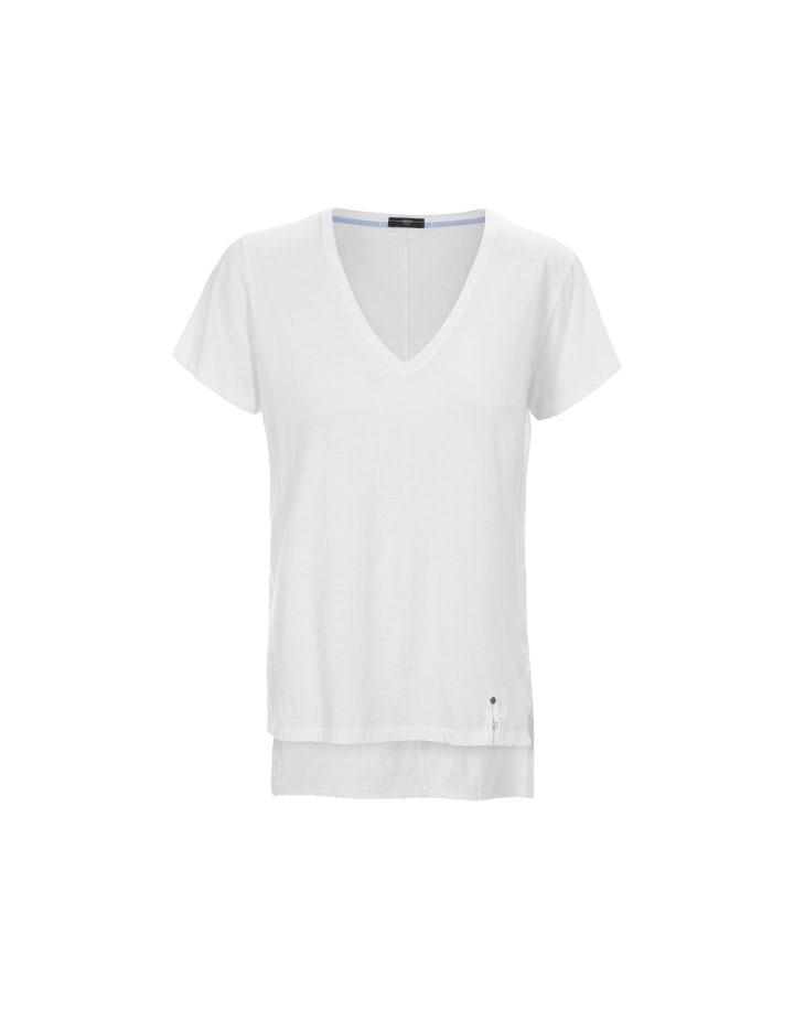NIMBLE: T-shirt a V in cotone bianco