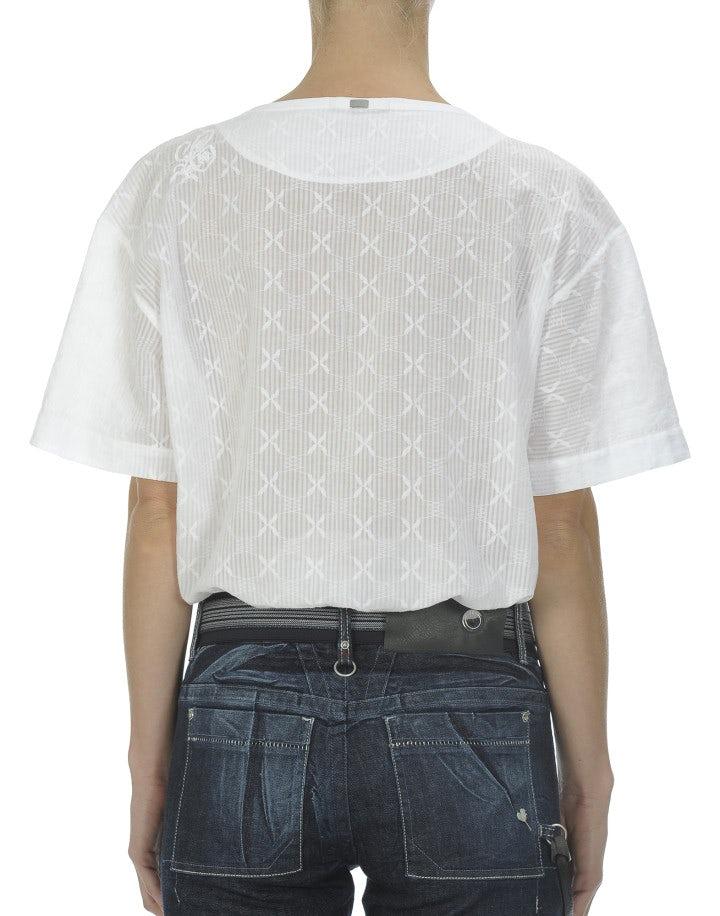 MIZU: Top in cotone bianco semitrasparente