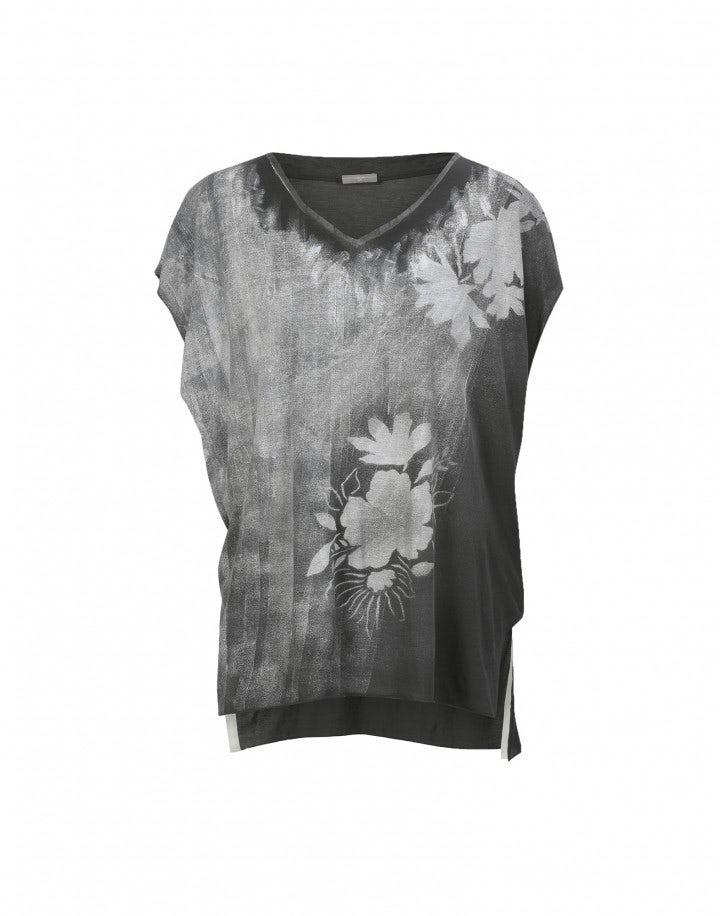 GESSO: T-shirt grigia con stampa floreale