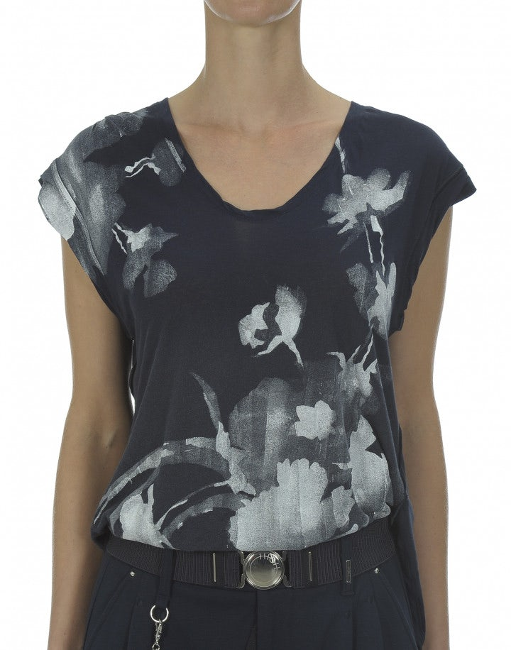DAUB: T-shirt con stampa floreale su fondo navy scuro