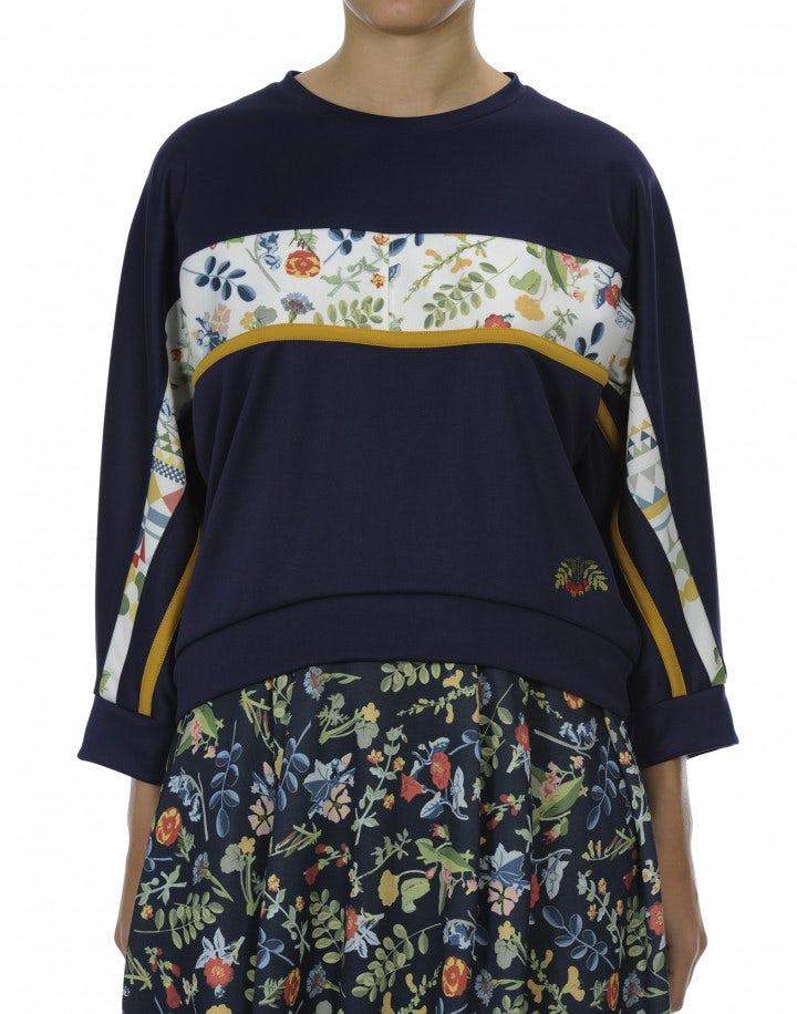 AESTHETIC: Top a felpa in tessuto floreale, blu navy, giallo e crema