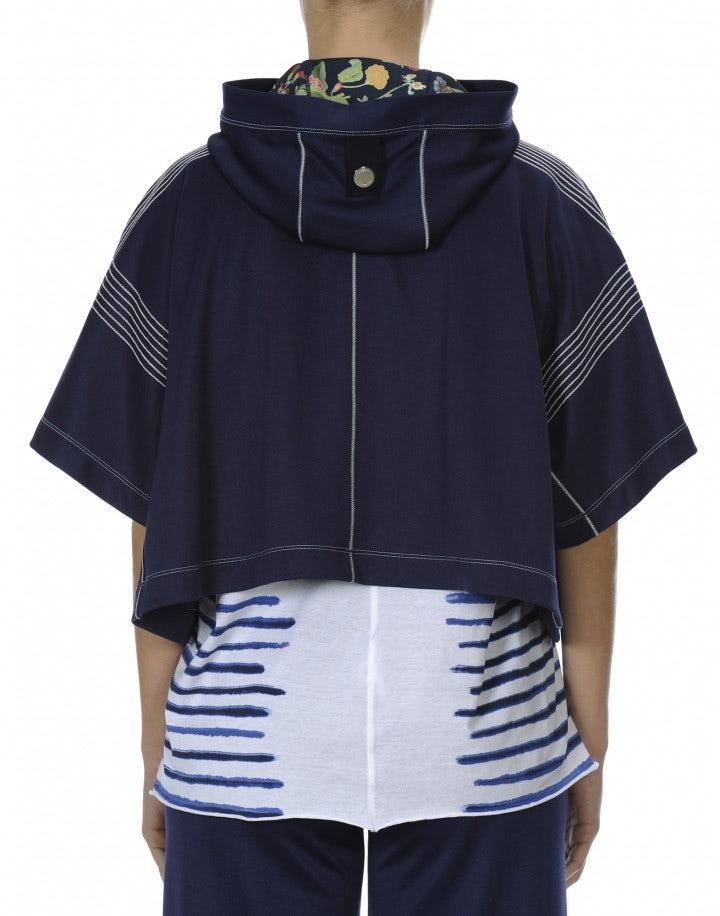 OFFBEAT: Top blu navy corto con maniche ampie e cappuccio