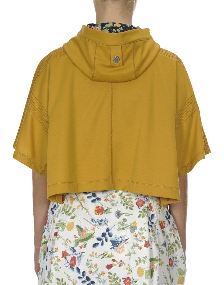 OFFBEAT: Top giallo corto con maniche ampie e cappuccio