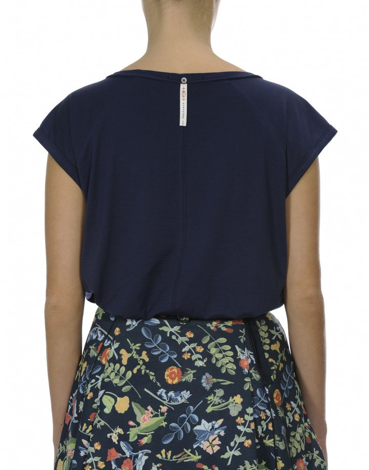 KEEP-UP: T-shirt blu navy smanicata con ricamo