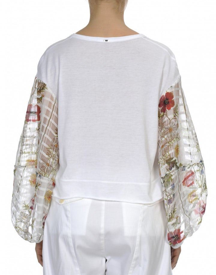 DARLING: Top in jersey con maniche lunghe a fiori