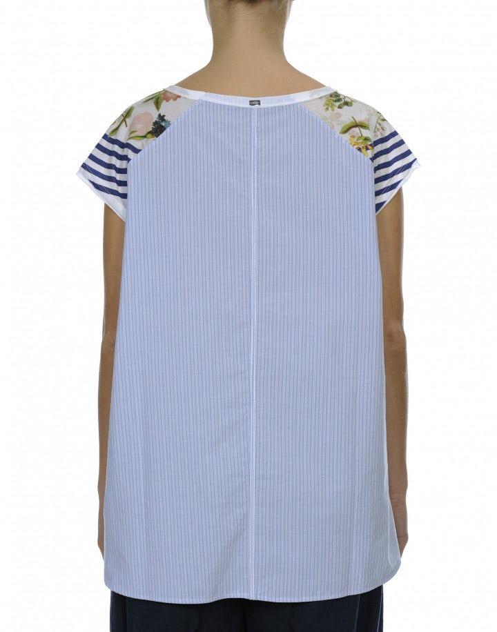 GLANCE: Top smanicato in jersey e tessuto rigato