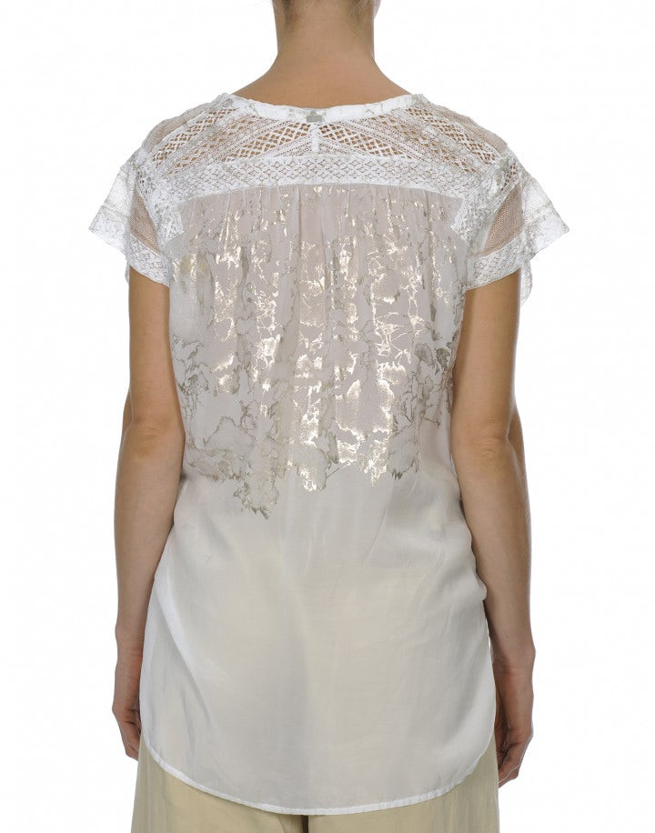 CANDOUR: T-shirt bianca con pizzo