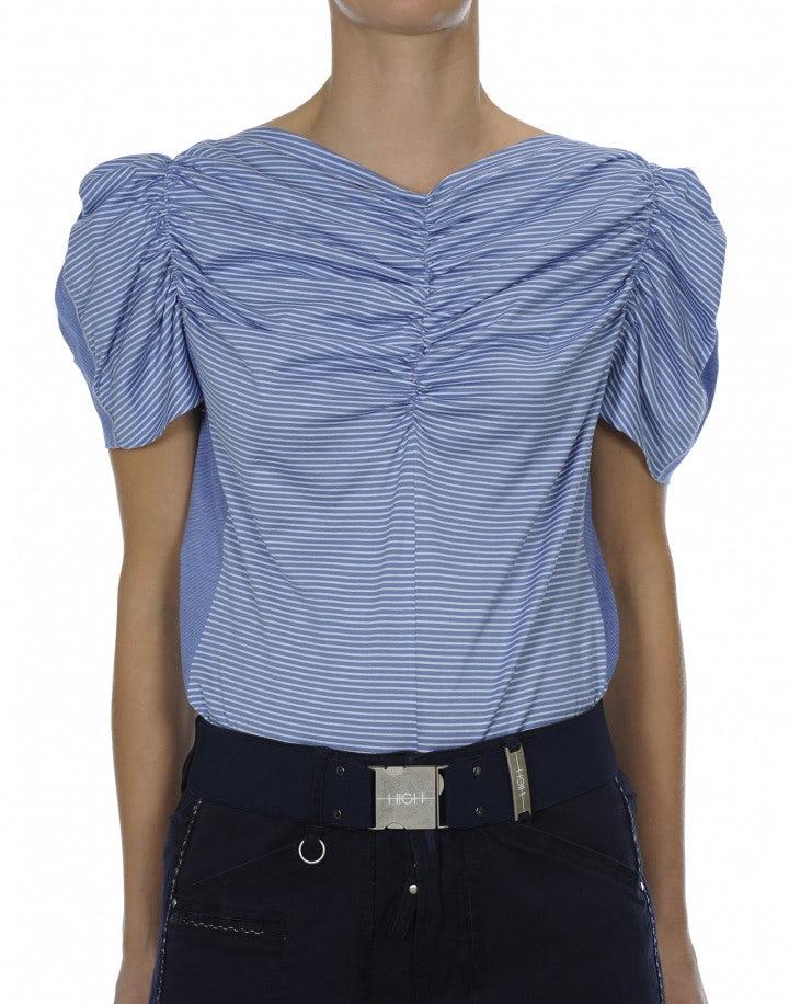 LYRICAL: Top in jersey rigato bianco e azzurro con arricciature