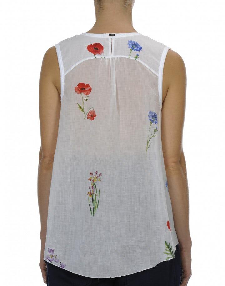 STANZA: Top a canotta bianco con stampa floreale