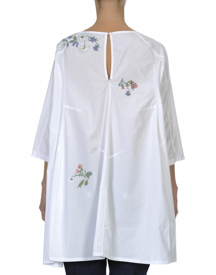 FONDLY: Top a tunica in cotone bianco con ricami