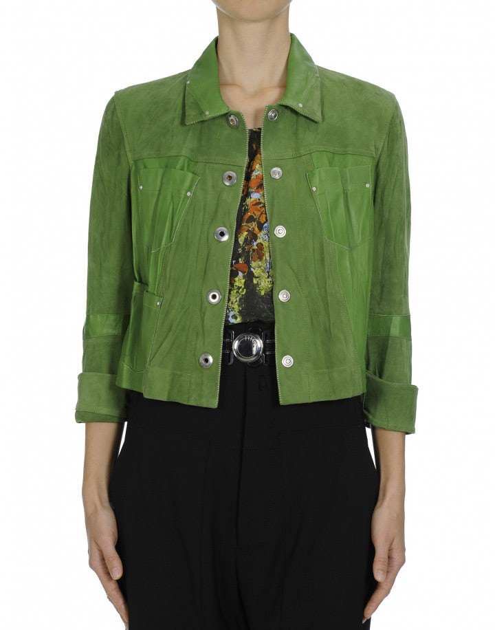 COVERT: Green Leather and suede jacket