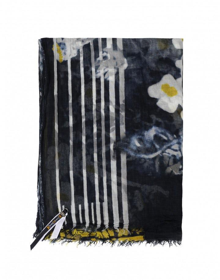 BALLAD: Sciarpa blu, bianca e gialla con motivo floreale scolorito