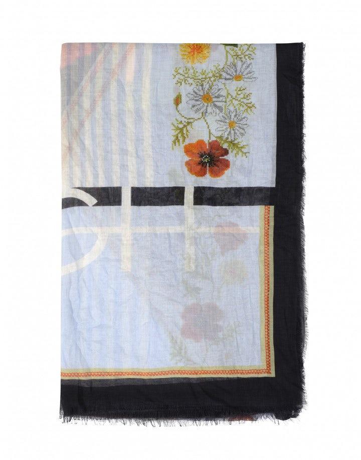 TEMPT: Sciarpa lunga a righe e motivi floreali in modal e seta