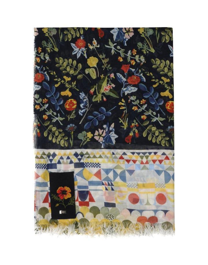 FOLLY: Sciarpa con motivi geometrici e floreali neo-vintage