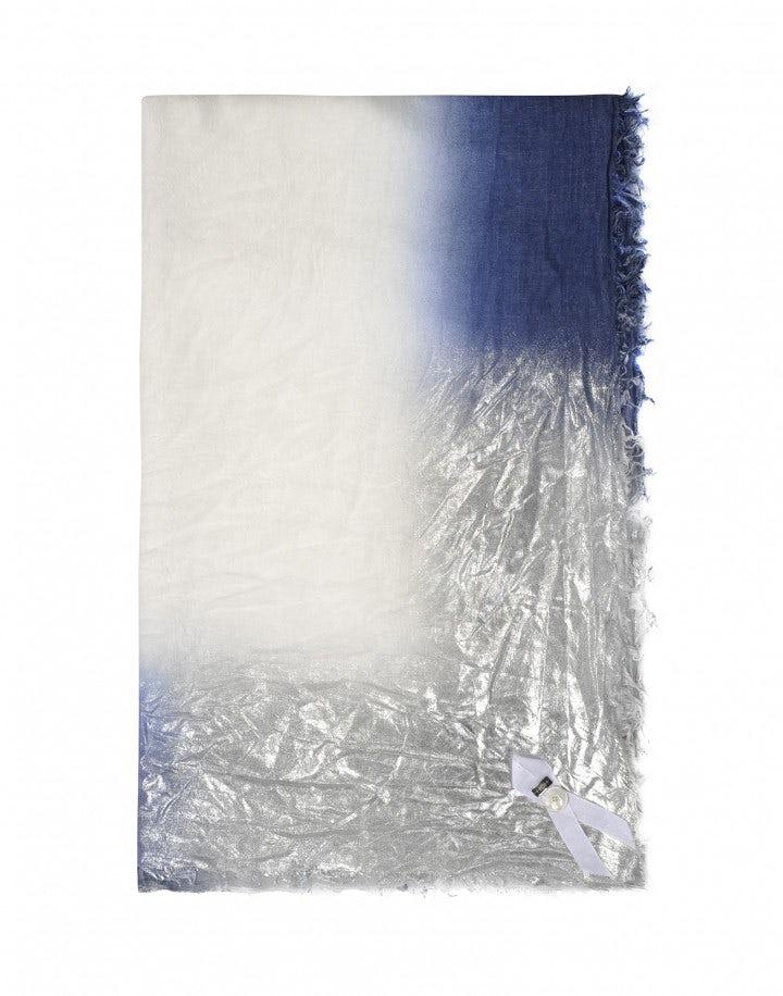 LOVELORN: Sciarpa quadrata con sfumature blu e argento