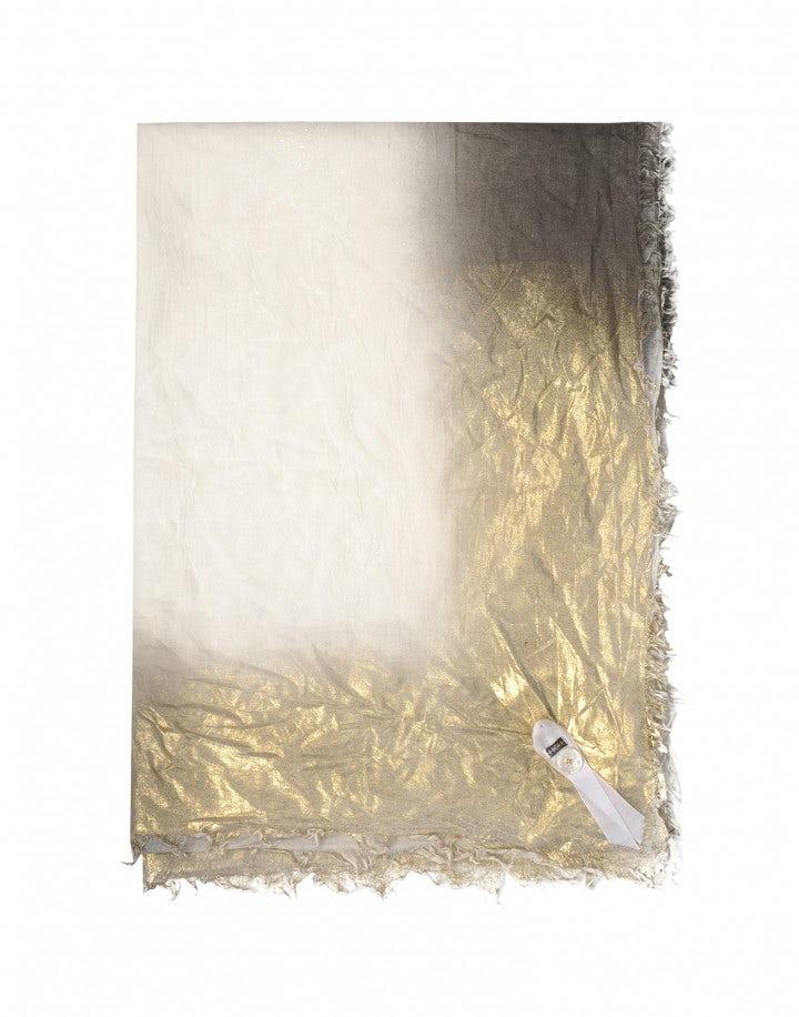 LOVELORN: Sciarpa quadrata con sfumature grigie e dorate