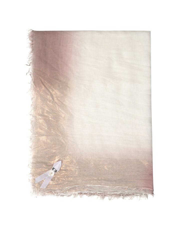 LOVELORN: Sciarpa quadrata con sfumature rosa e argento