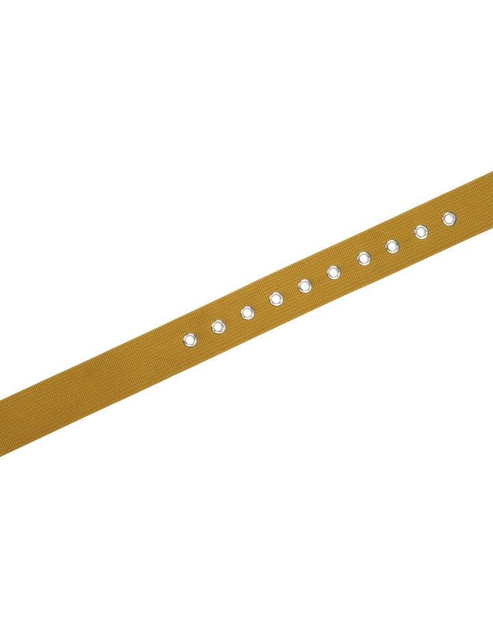 STATEMENT: Cintura gialla in tessuto con ricamo