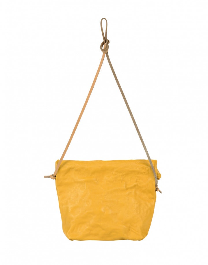 CHARMING: Borsa a sacchetto in pelle color calendula