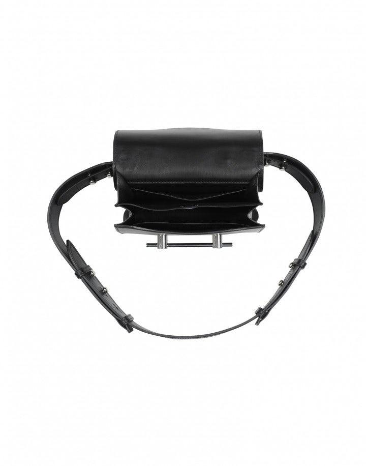 MEMENTO: Black leather shoulder bag