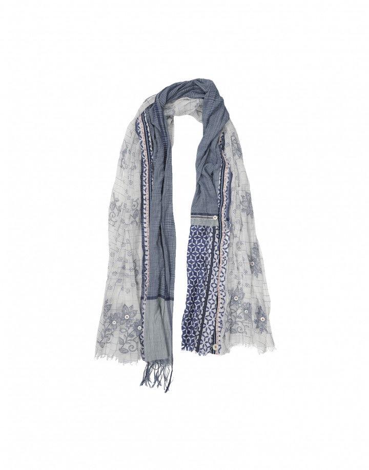 AUSTEN: Sciarpa con pannelli multipli blu e bianca