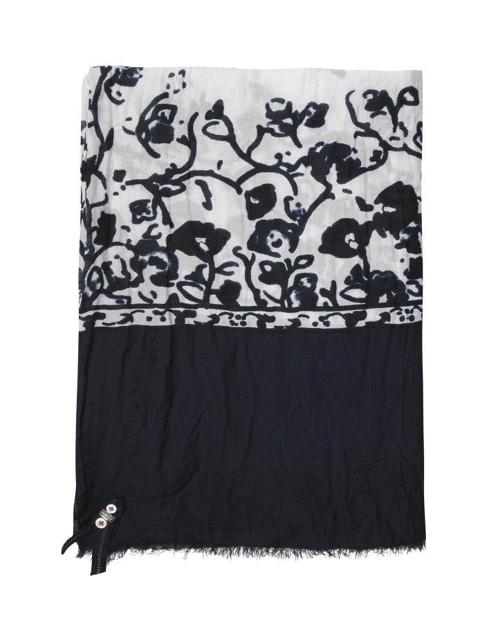 AUBREY: Sciarpa con stampa floreale blu su fondo crema