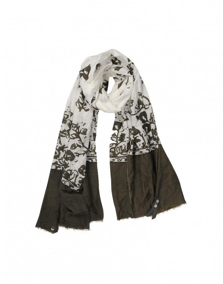 AUBREY: Sciarpa con stampa floreale khaki su fondo crema