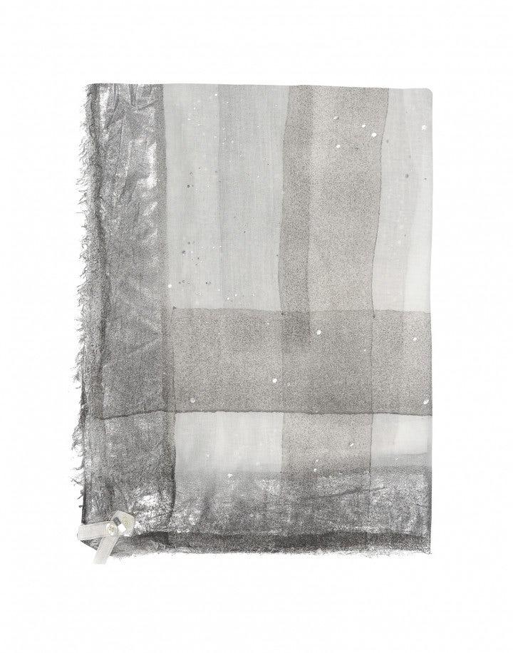 KANJI: Sciarpa stampata peltro e crema con quadrettatura sfumata