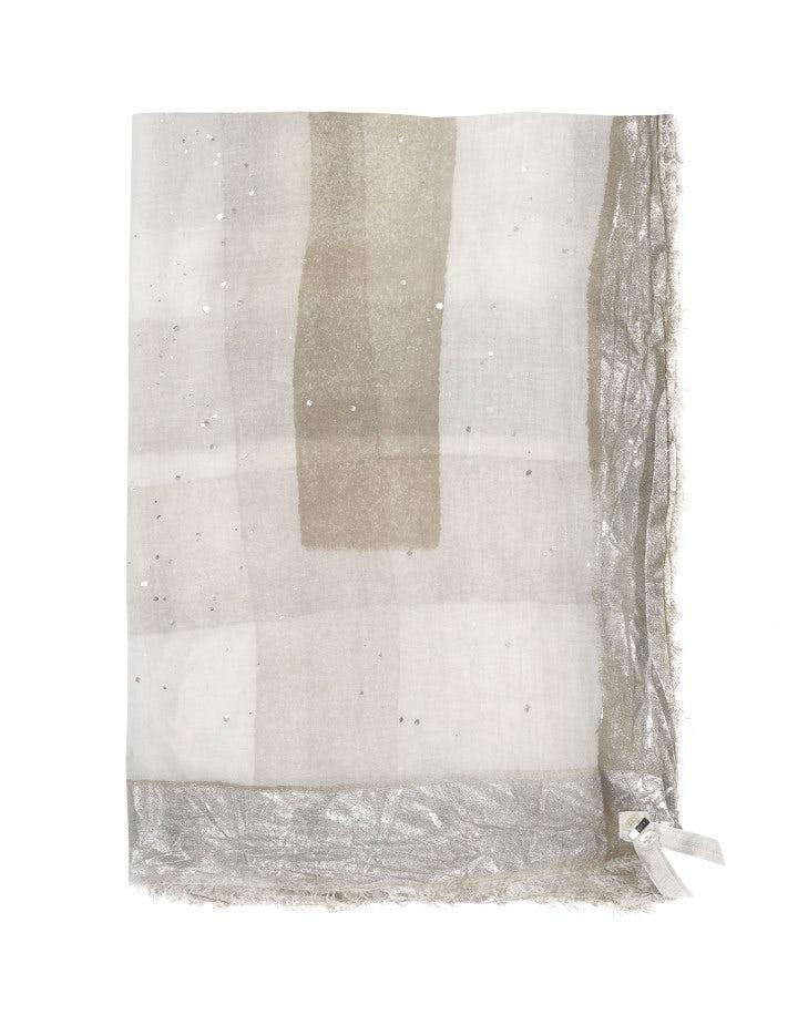 KANJI: Sciarpa stampata bronzo e crema con quadrettatura sfumata