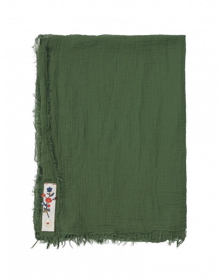 ARNICA: Sciarpa estiva in cotone verde foresta