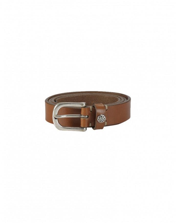 CANTER: Cintura in pelle color castagna