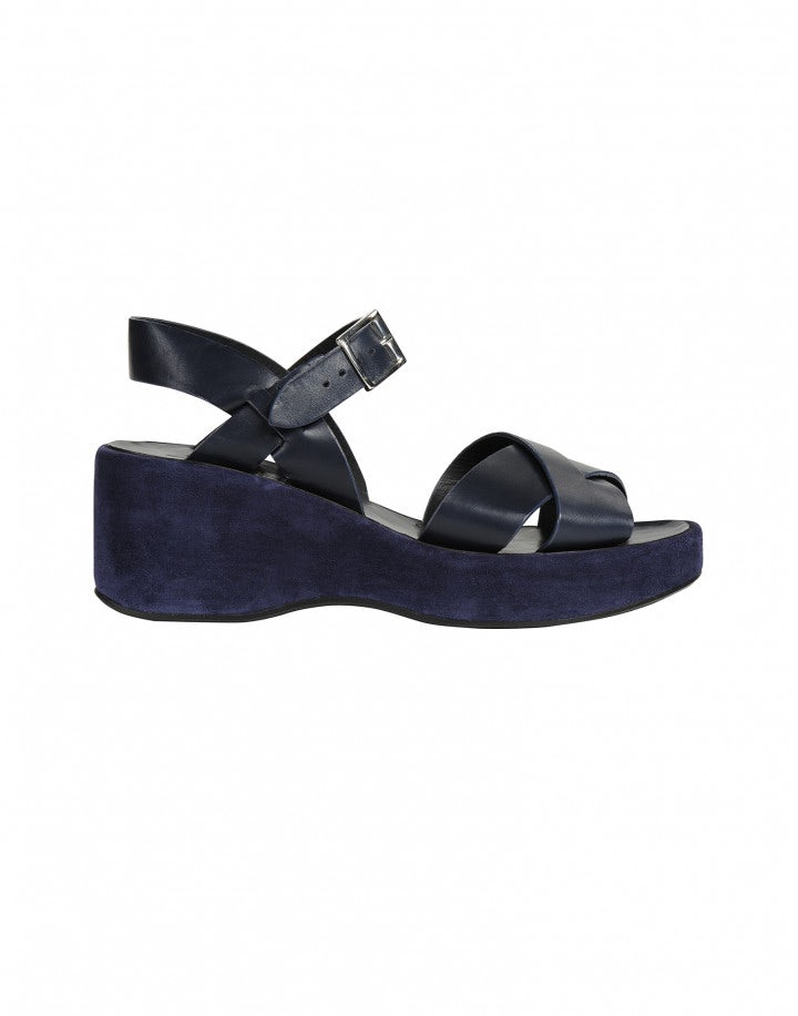 CRISS-CROSS: Sandalo con zeppa blu