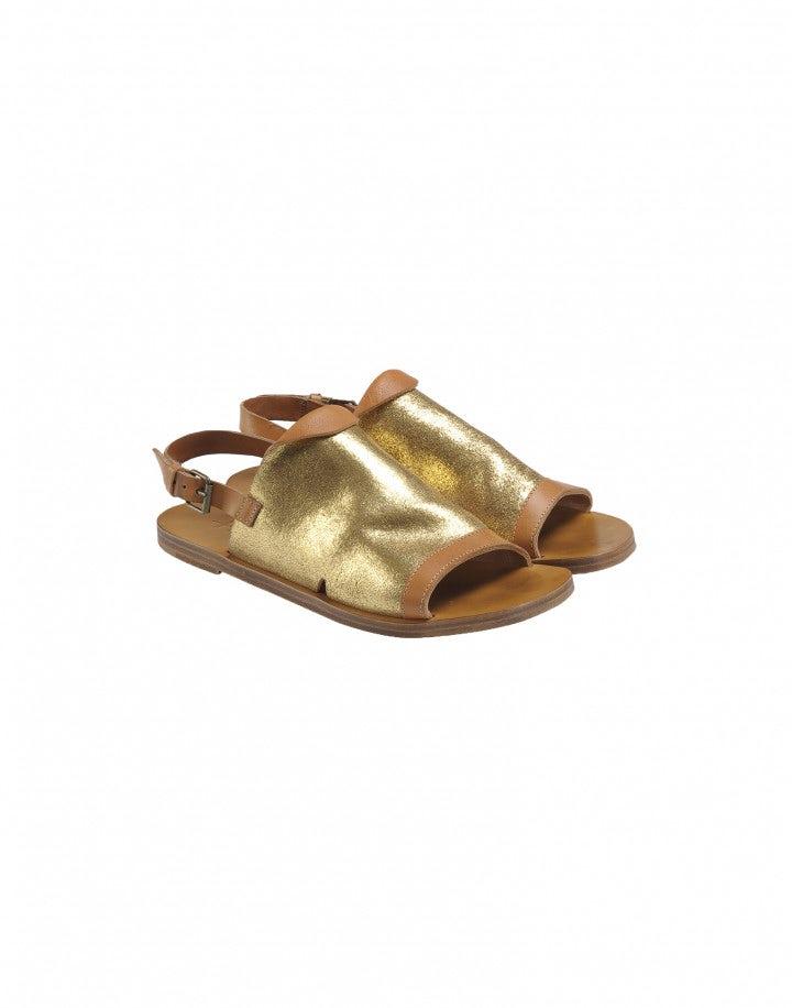 GURU: Sandali in pelle dorata e marrone con punta aperta
