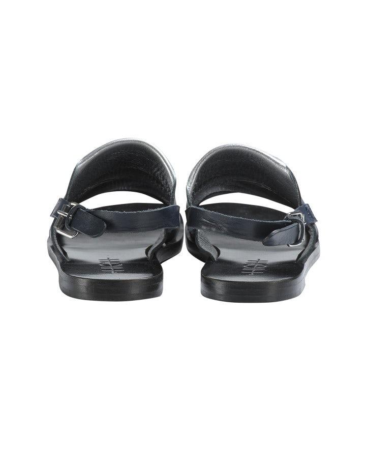 GURU: Sandali in pelle blu navy e argento con punta aperta