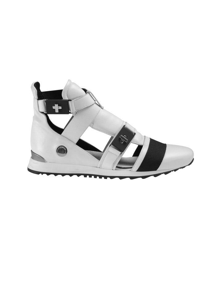 MIKO: Sneakers alte con aperture laterali, bianche