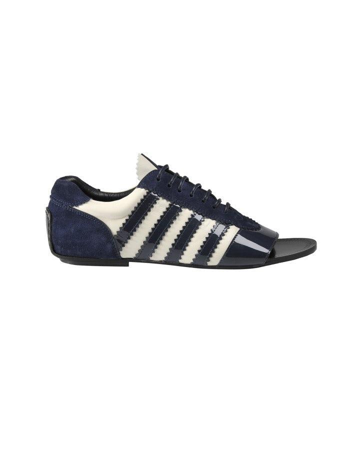 TROPEZ: Scarpe con punta aperta blu e bianche