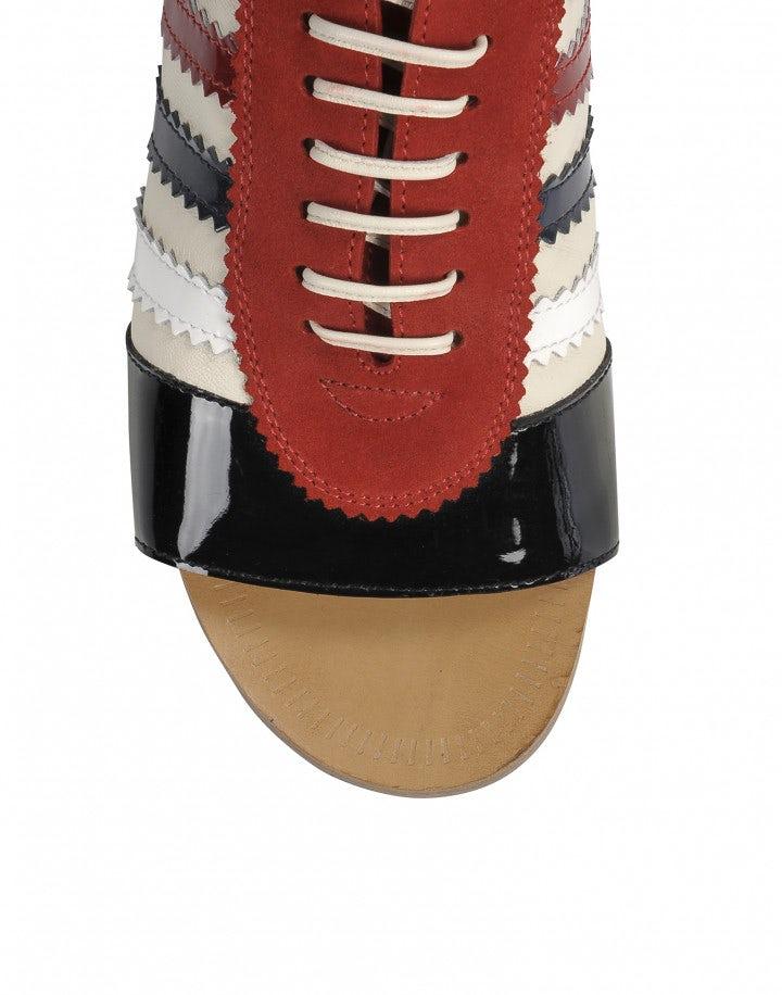 TROPEZ: Scarpe con punta aperta rosse, bianche e blu