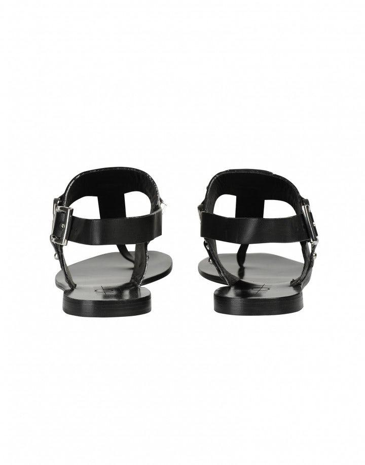 ADORN: Sandalo in pelle nero con dettagli in metallo