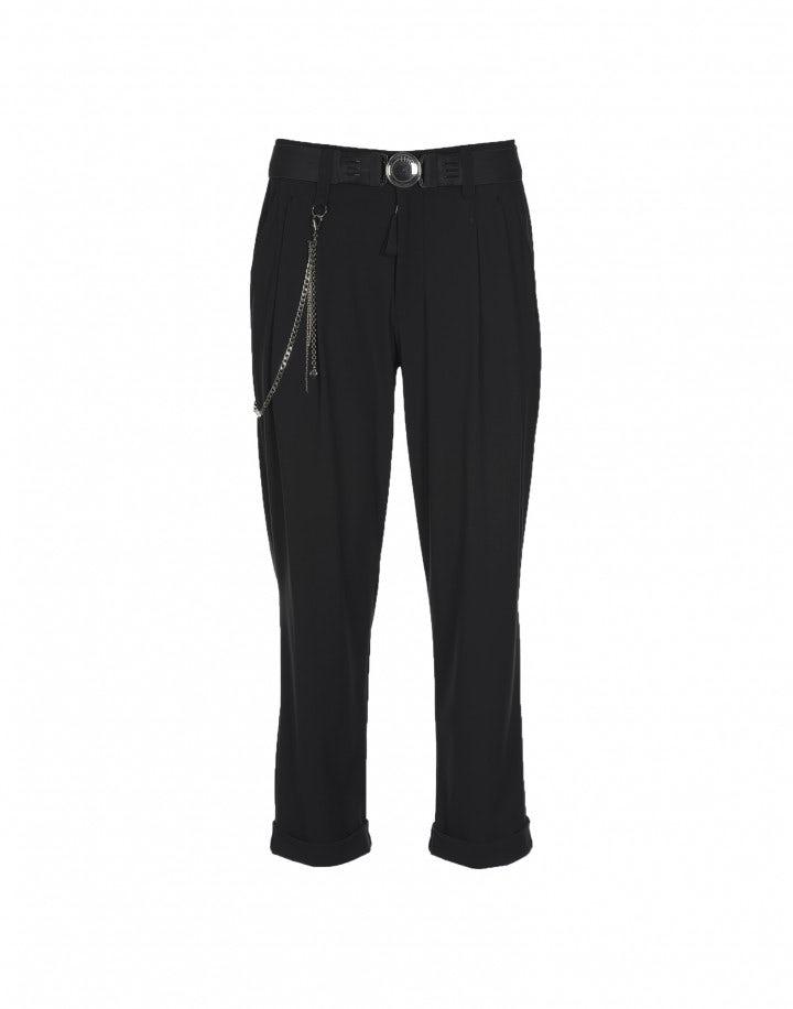COURAGE: Pantaloni neri con pieghe frontali