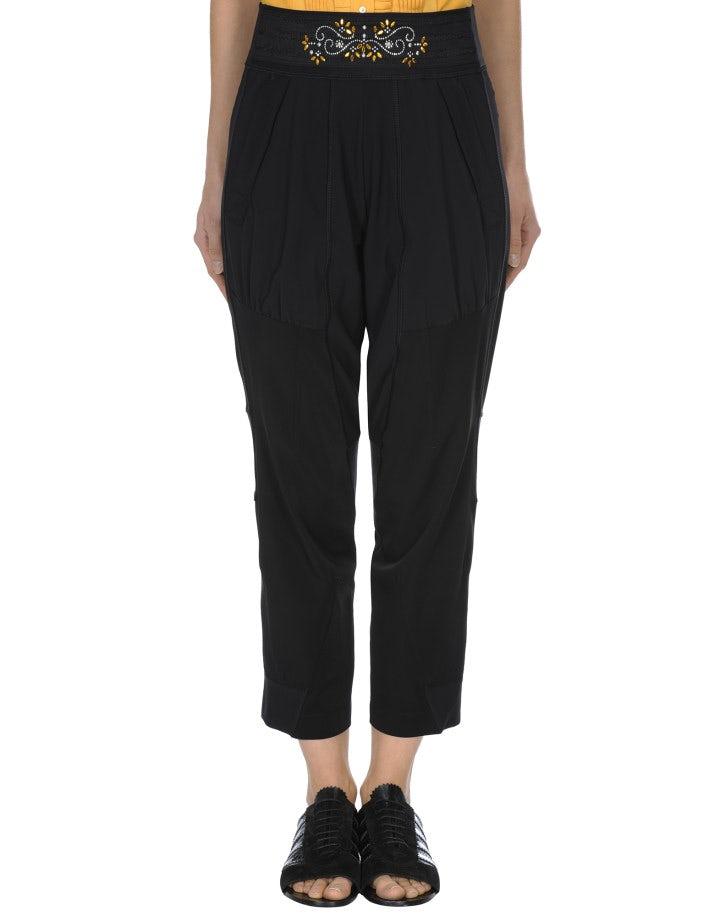 MINIMIZE: Pantaloni neri con arricciature e decorazione frontale