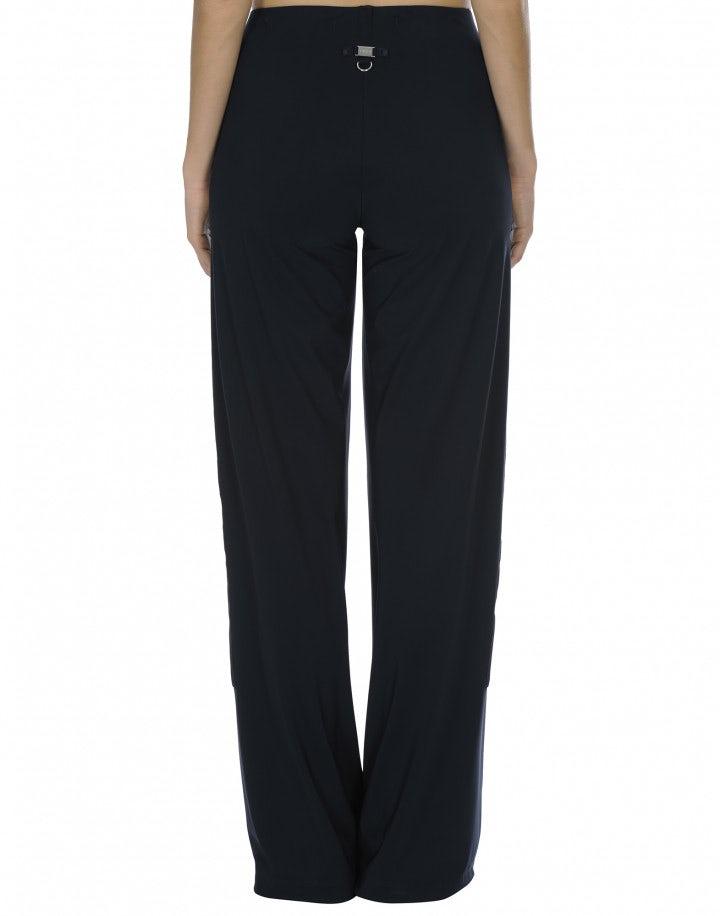 GRADIENT: Pantaloni ampi blu notte con motivo bianco laterale