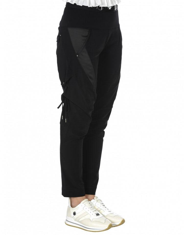 BETIDE: Pantaloni neri in twill stretch, jersey e raso tecnico