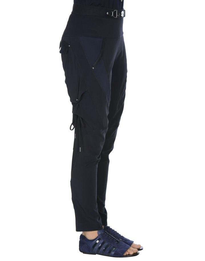 BETIDE: Pantaloni blu navy in twill stretch, jersey e raso tecnico