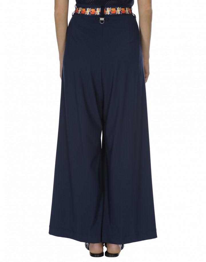 PERPETUAL: Pantaloni ampi a vita alta blu medio