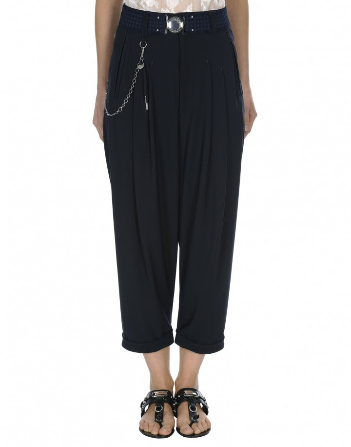 HASTEN: Pantaloni blu navy con pieghe frontali