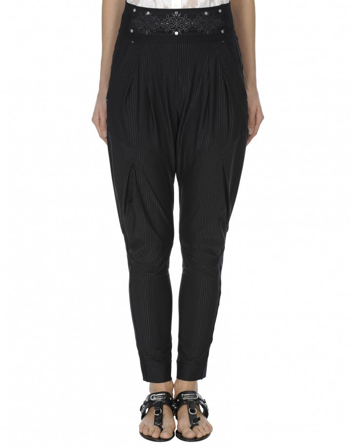 LURCH: Pantaloni affusolati in tessuto gessato fondo nero