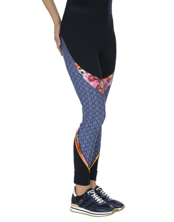"VORTEX: Leggings ""athleisure"" con pattern floreale e geometrico blu navy"