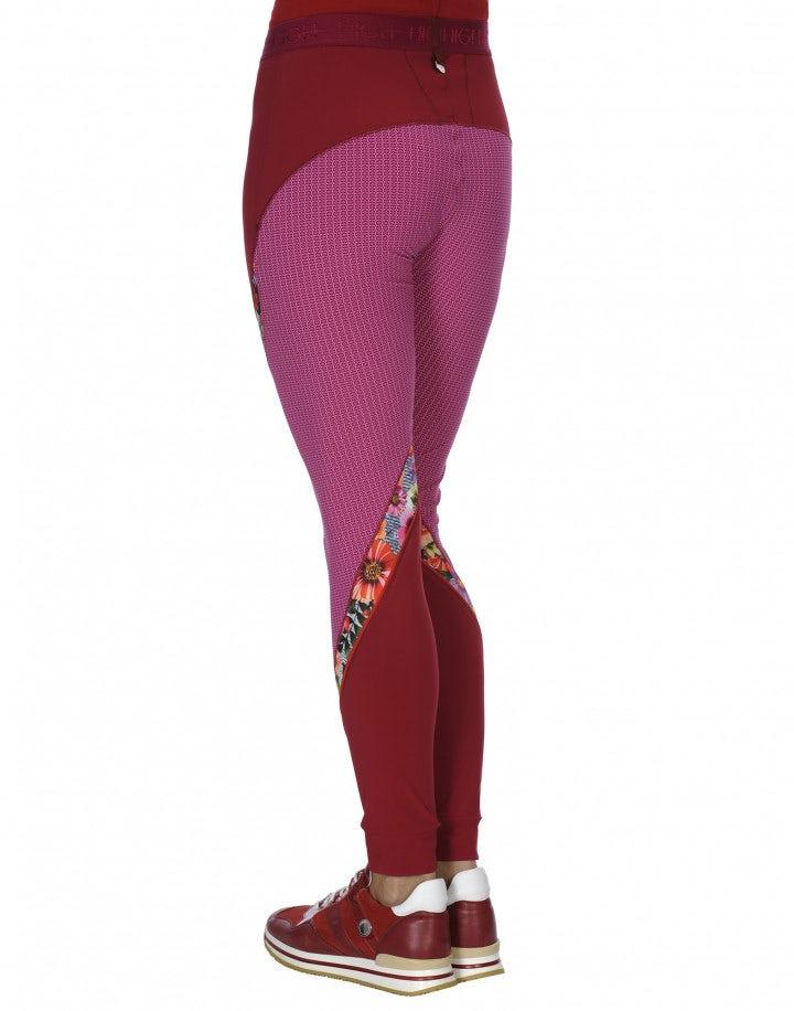 "VORTEX: Leggings ""athleisure"" con pattern floreale e geometrico fucsia"